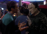 Bashir and Garak in line