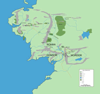 Middle earth map showing prominent locations