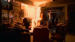 X-Files Office on fire
