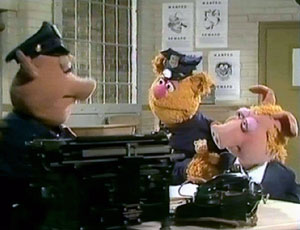 Bear on Patrol - Muppet Wiki Wanted Man Bear Pig