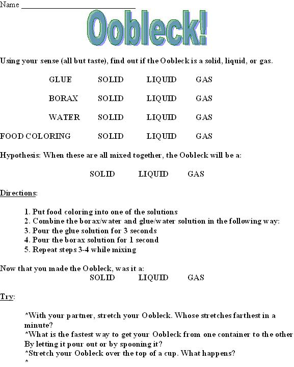 Oobleck Worksheet | Worksheet & Workbook Site