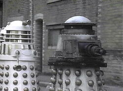 Special-Weapons Dalek with two Imperial Daleks