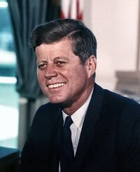 John F Kennedy, White House color photo portrait