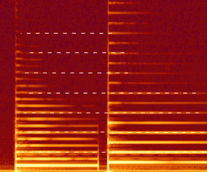 Spectrogram showing shared partials
