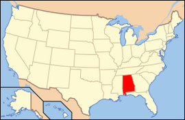 Map of USA AL