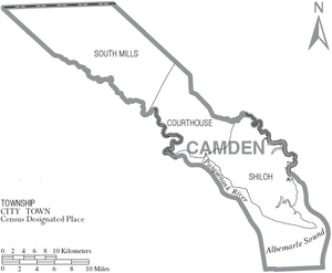 Map of Camden County North Carolina With Municipal and Township Labels