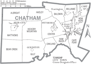 Map of Chatham County North Carolina With Municipal and Township Labels