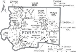 Map of Forsyth County North Carolina With Municipal and Township Labels