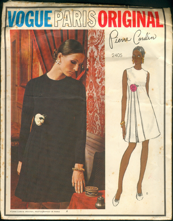 Vogue 2405 by Pierre Cardin 1970s dress with flower and streamers designer pattern