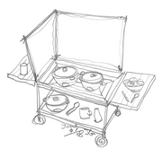 Solar Cooker Cart with Greenhouse Type Ovens