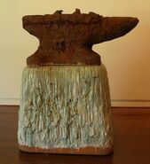 'Forged Earth', glazed stoneware sculpture by --Robert Arneson--, 1989, private collection