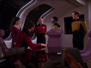 Riker tells OBrien and La Forge to get transporters working