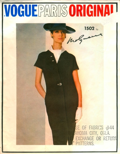 Vogue 1502 1960s Molyneux dress ascot pattern Simone D'Aillencourt Vogue Paris Original