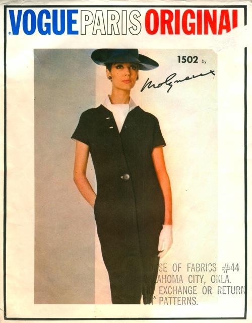 Vogue 1502 1960s Molyneux dress ascot pattern Simone D'Aillencourt Vogue Paris Original