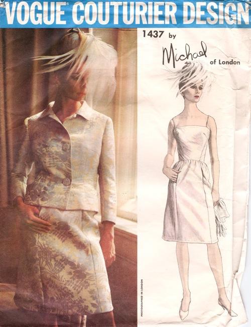 Vogue Couturier 1437 1960s jacket evening dress suit pattern Michael of London Michael Donéllan