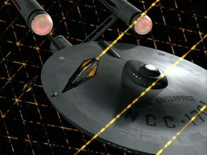 USS Enterprise and Tholian web - overhead, remastered