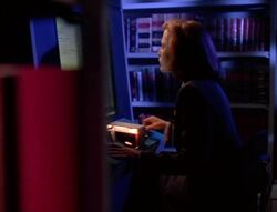 Dana Scully in FBI Library