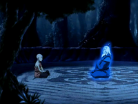 Aang talks to Roku's spirit