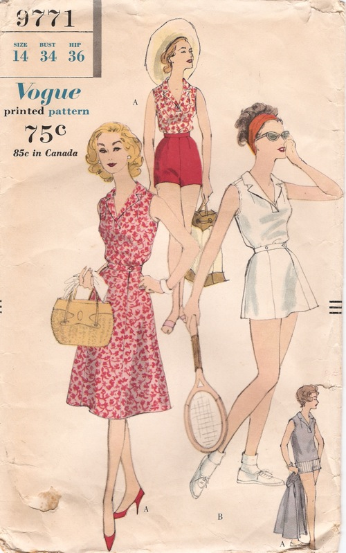 Vogue 9771 late 1950s blouse, skirt and shorts pattern