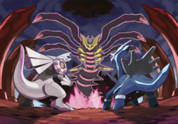 Ilustracin de Giratina, Dialga y Palkia en la Columna Lanza