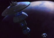 USS Enterprise approaches Earth Spacedock