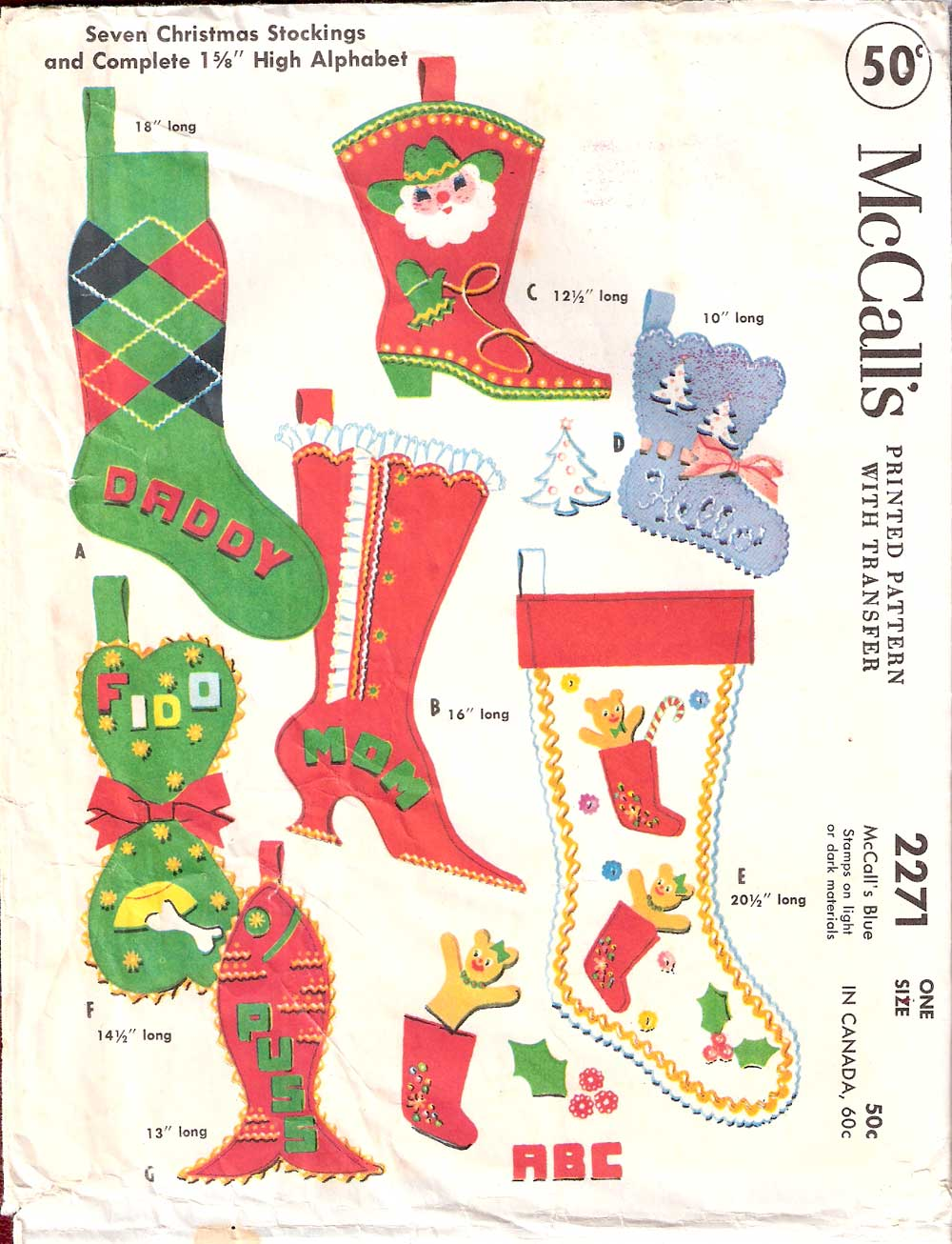 Western Christmas Stocking Patterns http://vintagepatterns.wikia.com/wiki/McCall%27s_2271_A
