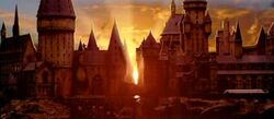 Hogwarts castle sunrise 01 (Concept Artwork for HP2 movie)