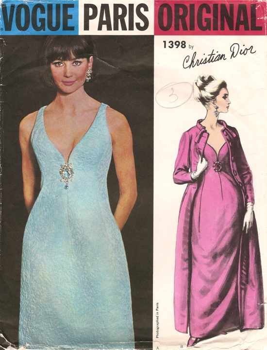 Vogue 1398 evening dress and coat 1960s pattern by Christian Dior