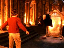 Quirinus Quirrell and Harry Potter at the Philosopher's Stone Chamber