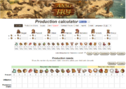 Screenshot of production calculator