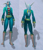 Festive Teal Pant Suit, Snow Background, NE Female