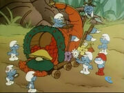 A Float Full of Smurfs Parade Float