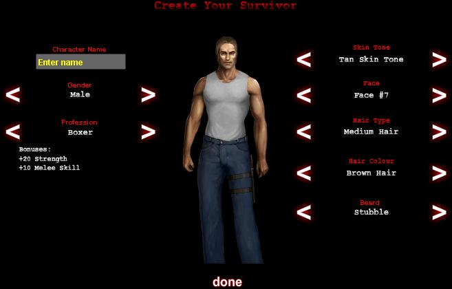Dead Frontier - Character Creation