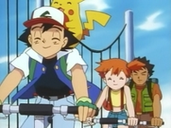 EP036 Ash, Misty y Brock montando en bici