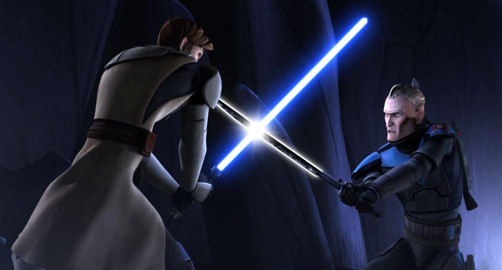 Pre vizsla wielding the darksaber in a duel against obi wan kenobi
