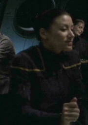 Female command crewman in mess hall 2151