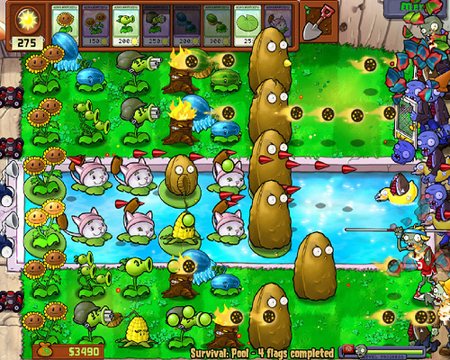 Plants vs zombies survival night pool party