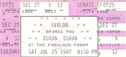 Duran duran ticket 25 july 1987 250