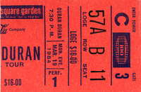 Duran Duran ticket 19 mar 84