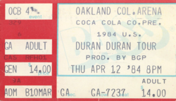 Duran duran ticket 12 april 84