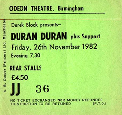 Ticket 26 nov 1982 duran duran