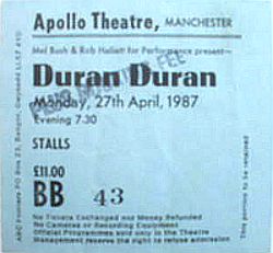 Ticket duran 27 april 1987