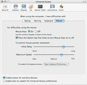 Mouse Keys Setup- Mac OS X