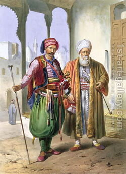 A-Janissary-And-A-Merchant-In-Cairo,-Illustration-From-The-Valley-Of-The-Nile,-Engraved-By-Charles-Bour-1814-81-Pub.-By-Lemercier,-1848