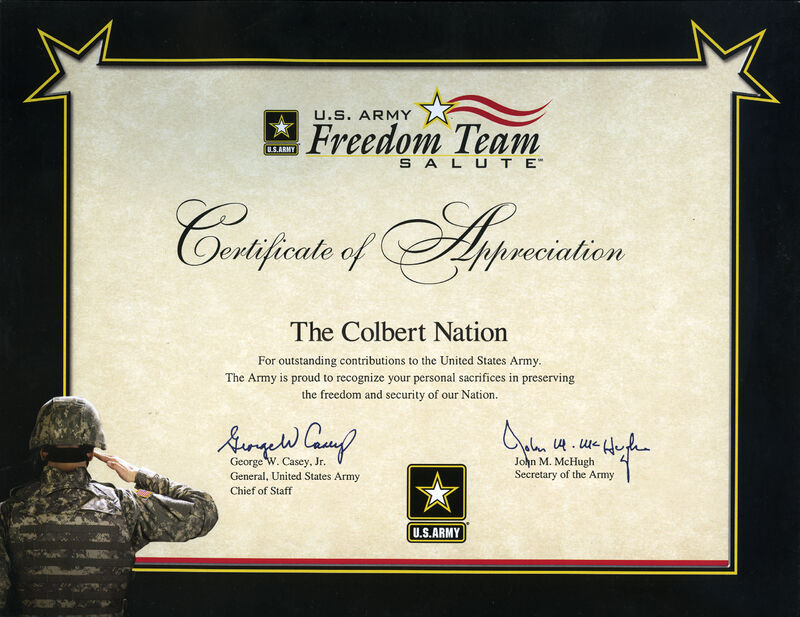 ColbertNation Certificate