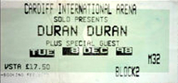 Duran duran concert ticket cardiff international arena UK