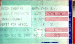 DURAN DURAN TICKET NEW YORK BEACON THEATRE 1987