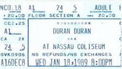Duran duran ticket Secret Caravan Club Tour 1988,and Big Electric Thing 1989