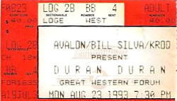 Ticket duran duran great westurn forum 23 aug 1993