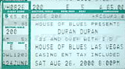 Duran duran ticket house of blues las vegas 26 august 2000
